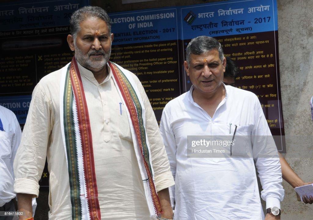 Haryana Education Minister Ram Bilas Sharma and Speaker Kanwar Pal Gujjar during the presidential election at Haryana Vidhan Sabha on July 17 2017 in.