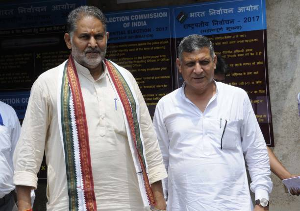 Haryana Education Minister Ram Bilas Sharma and Speaker Kanwar Pal Gujjar during the presidential election at Haryana Vidhan Sabha on July 17 2017 in.