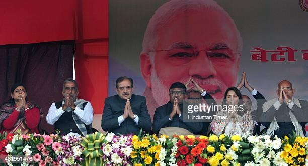 Haryana Governor Kaptan Singh Solanki Haryana Chief Minister Manohar Lal Khattar Bollywood actress Madhuri Dixit Nene and Union Ministers Maneka...