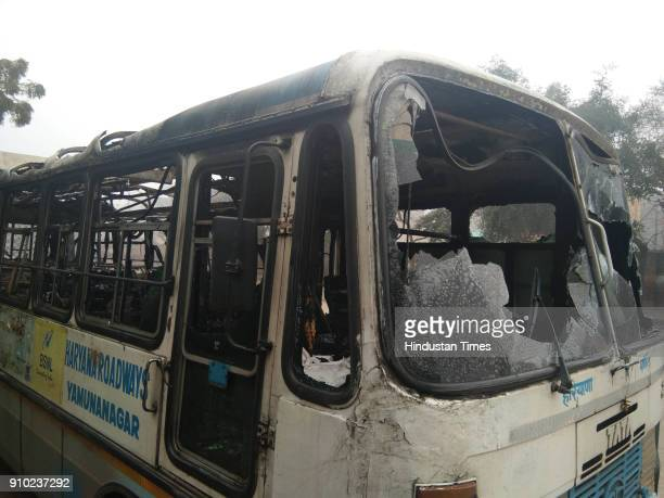 Haryana roadways bus was torched by unknown elements at the Bus stand on January 25 2018 in Hisar India Rajput groups hold a demonstration in many...