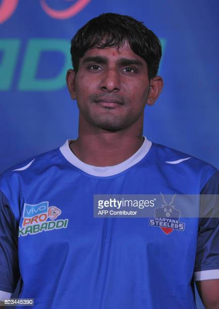 Haryana Steelers Team kabaddi captain Surender Nada poses during an event for the fifth edition of the Pro Kabaddi League 2017 in Hyderabad on July...