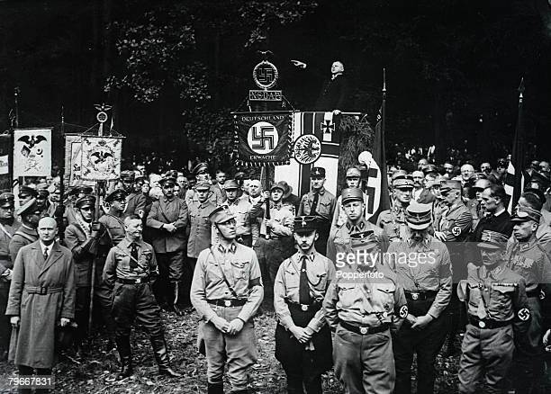 Harzburg Germany 12th October A group of Nazi demonstrators at Harzburg protesting against the government of Dr Bruning
