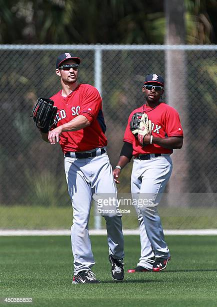 Has Grady Sizemore left moved in front of Jackie Bradley Jr right in the Red Sox starting center fielder race Pictured together in center during a...