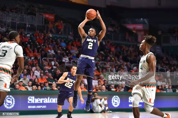 Hasan Abdullah of the Navy Midshipmen shoots the ball during the first half against the Miami Hurricanes at The Watsco Center on November 12 2017 in...