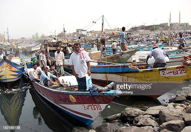 Hasan Abdullah Quanas a Yemeni fisherman stands at the prow of the fishing boat where his nephew Mohammed Ali Quanas was shot by a security guard on...
