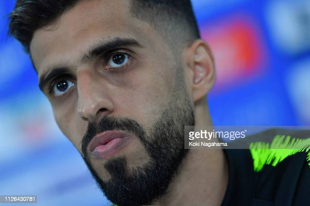 Hasan Al Haydos of Qatar attends the press conference at Zayed Sports City Stadium on January 31 2019 in Abu Dhabi United Arab Emirates