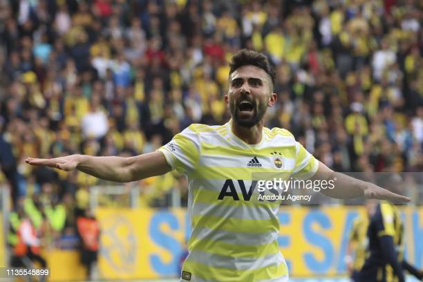 Hasan Ali Kaldirim of Fenerbahce celebrates after scoring a goal during Turkish Super Lig soccer match between MKE Ankaragucu and Fenerbahce at...