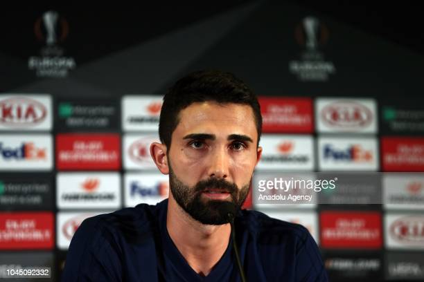 Hasan Ali Kaldirim of Fenerbahce holds a press conference ahead of UEFA Europa League Group D match against Spartak Trnava at Ulker Stadium in...