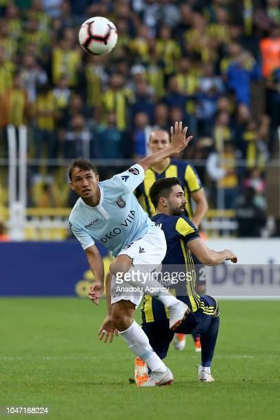 Hasan Ali Kaldirim of Fenerbahce in action against Marcio Mossoro of Medipol Basaksehir during a Turkish Super Lig soccer match between Fenerbahce...