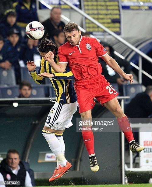 Hasan Ali Kaldirim of Fenerbahce in action against Olexandr Karavaev of Zorya during the UEFA Europa League Group A football match between Fenerbahce...