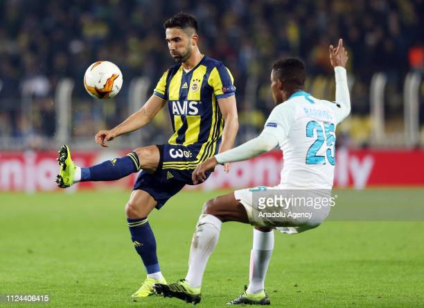 Hasan Ali Kaldirim of Fenerbahce in action against Wilmar Barrios of Zenit during UEFA Europa League Round of 32 match between Fenerbahce and Zenit...