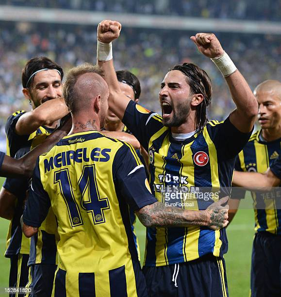 Hasan Ali Kaldirim of Fenerbahce SK celebrates a goal during the UEFA Europa League group stage match between Fenerbahce SK and Olympique de...