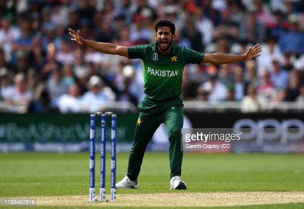 Hasan Ali of Pakistan appeals during the Group Stage match of the ICC Cricket World Cup 2019 between England and Pakistan at Trent Bridge on June 03...