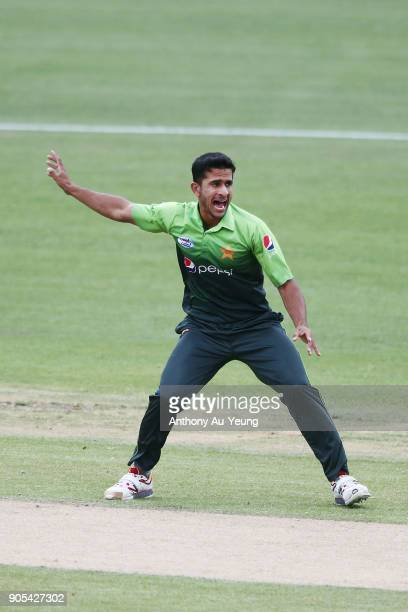 Hasan Ali of Pakistan appeals for a wicket during game four of the One Day International Series between New Zealand and Pakistan at Seddon Park on...