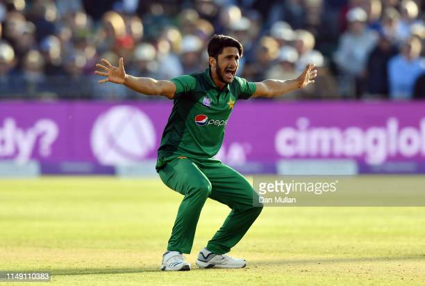 Hasan Ali of Pakistan appeals unsuccessfully for the wicket of Jonny Bairstow of England during the 3rd Royal London One Day International between...