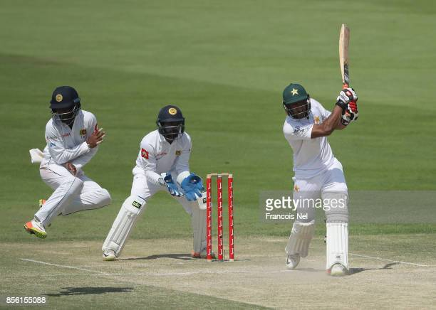 Hasan Ali of Pakistan bats during Day Four of the First Test between Pakistan and Sri Lanka at Sheikh Zayed stadium on October 1 2017 in Abu Dhabi...