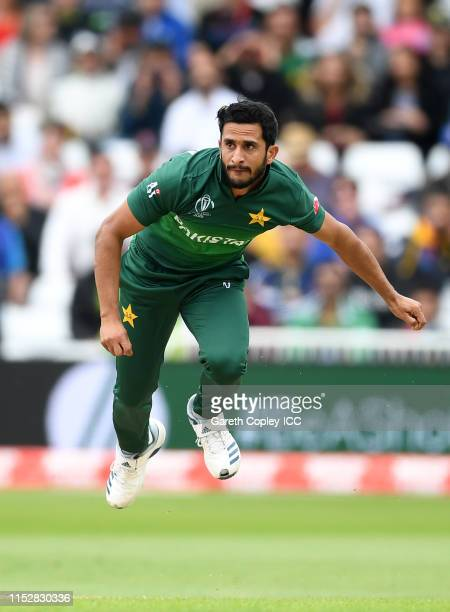 Hasan Ali of Pakistan bowls as Shai Hope of West Indies bats during the Group Stage match of the ICC Cricket World Cup 2019 between West Indies and...