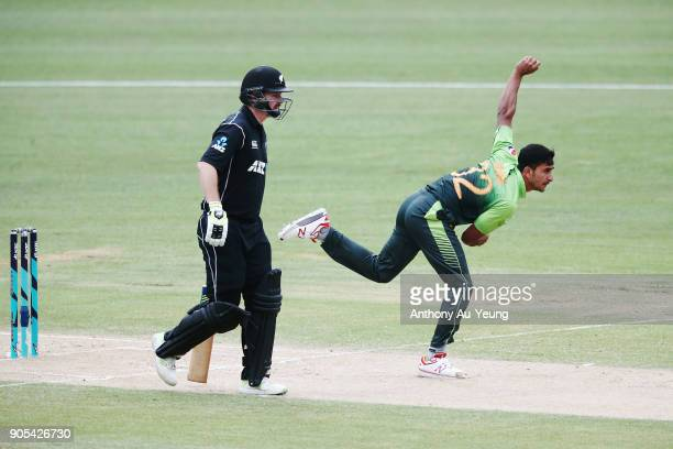 Hasan Ali of Pakistan bowls during game four of the One Day International Series between New Zealand and Pakistan at Seddon Park on January 16 2018...