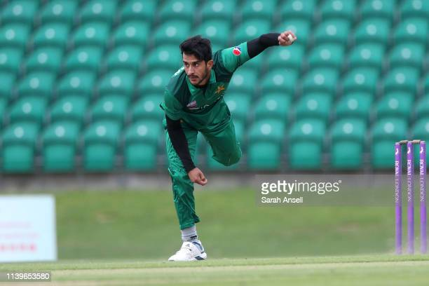 Hasan Ali of Pakistan bowls during the tour match between Kent and Pakistan on April 27 2019 at the County Ground Beckenham England