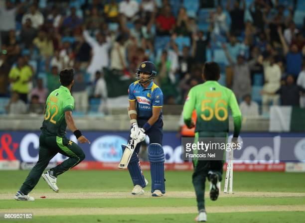 Hasan Ali of Pakistan celebrate after dismissing Milinda Siriwardana of Sri Lanka during the first One Day International match between Pakistan and...