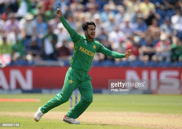 Hasan Ali of Pakistan celebrates Adil Rashid of England was run out during the ICC Champions Trophy match between England and Pakistan at Swalec...