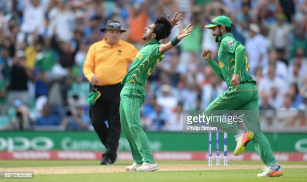 Hasan Ali of Pakistan celebrates after dismissing MS Dhoni of India during the ICC Champions Trophy final match between India and Pakistan at the Kia...