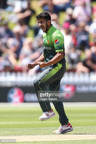Hasan Ali of Pakistan celebrates after taking the wicket of Colin Munro of New Zealand during game one of the One Day International Series between...