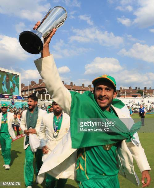 Hasan Ali of Pakistan celebrates his teams win over India during the ICC Champions Trophy Final between Pakistan and India at The Kia Oval on June 18...
