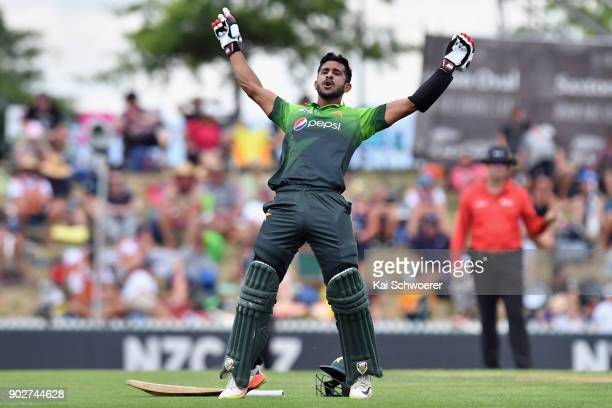 Hasan Ali of Pakistan celebrates scoring his first ODI half century during the second match in the One Day International series between New Zealand...