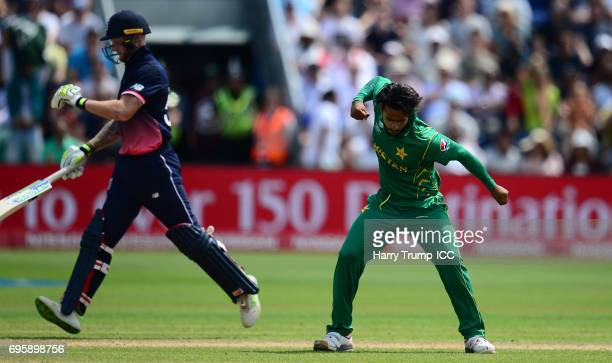 Hasan Ali of Pakistan celebrates the wicket of Ben Stokes of England during the ICC Champions Trophy Semi Final match between England and Pakistan at...