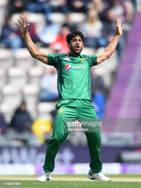 Hasan Ali of Pakistan celebrates the wicket of Jason Roy during the second One Day International between England and Pakistan at The Ageas Bowl on...