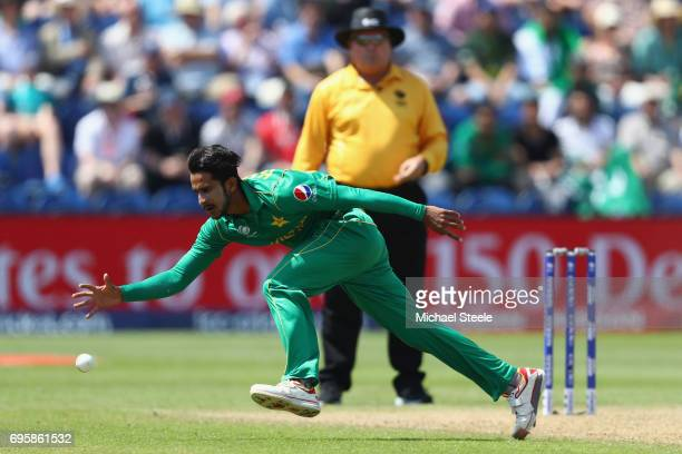 Hasan Ali of Pakistan fields off his own bowling during the ICC Champions Trophy SemiFinal match between England and Pakistan at the SWALEC Stadium...