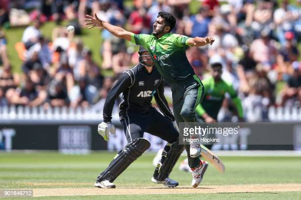 Hasan Ali of Pakistan fields the ball during game one of the One Day International Series between the New Zealand Black Caps and Pakistan at Basin...
