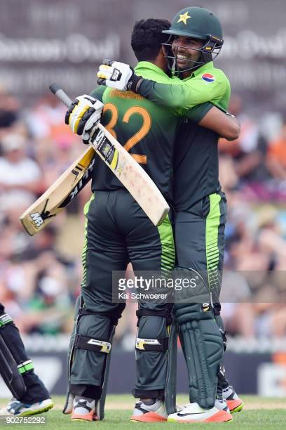 Hasan Ali of Pakistan is congratulated by Shadab Khan of Pakistan after scoring his first ODI half century during the second match in the One Day...