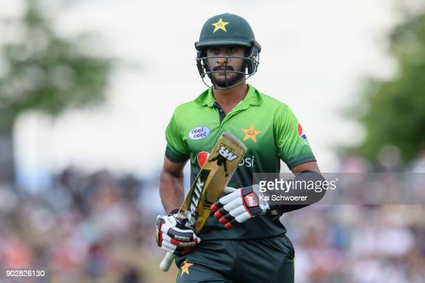 Hasan Ali of Pakistan looks dejected after being dismissed by Tim Southee of New Zealand during the second match in the One Day International series...