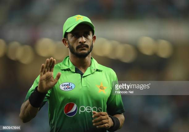 Hasan Ali of Pakistan looks on during the first One Day International match between Pakistan and Sri Lanka at Dubai International Stadium on October...