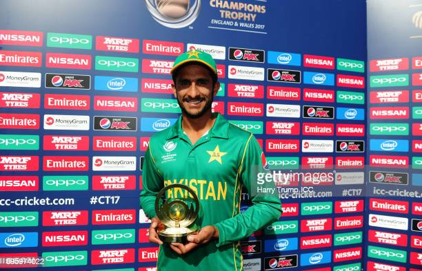 Hasan Ali of Pakistan poses with the man of the match award during the ICC Champions Trophy Semi Final match between England and Pakistan at the...