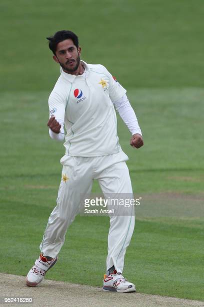 Hasan Ali of Pakistan punches the air after taking the wicket of Kent opening batsman Daniel BellDrummond on day 1 of the tour match between Kent and...