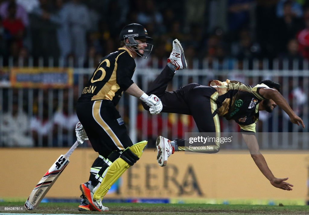 Hasan Ali of Punjabi Legends looses his footing during the T10 League Final match between Kerela Kings and Punjabi Legends at Sharjah Cricket Stadium on December 17, 2017 in Sharjah, United Arab Emirates.