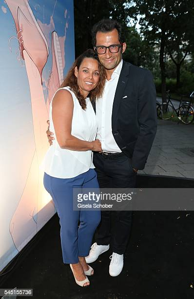 Hasan Brazzo Salihamidzic and his wife Esther Copado during the Iris von Arnim by Unuetzer launch party of the cashmere sneaker at Bob Beaman Club on...
