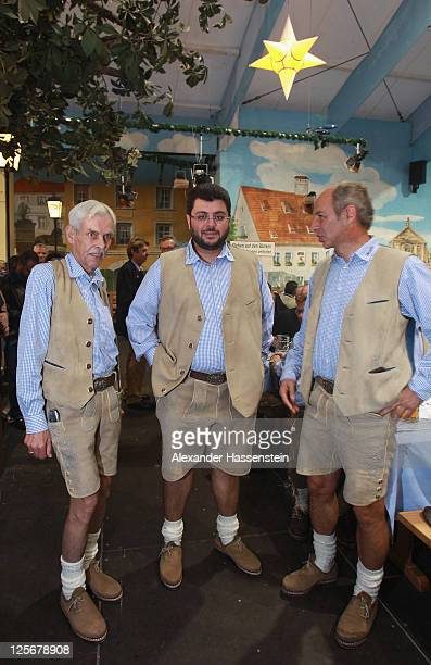 Hasan Ismaik attends with Reiner Maurer head coach of 1860 Muenchen and 1860 President Dieter Schneider the Oktoberfest 2011 at Hacker Festzelt on...