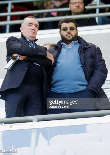 Hasan Ismaik , Jordanian investor of Muenchen and Ian Ayre, former CEO of FC Liverpool chat together prior to the Second Bundesliga match between TSV...