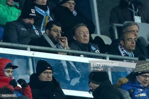 Hasan Ismaik of 1860 Muenchen and Peter Cassalette of 1860 Muenchen looks on during the Second Bandesliga match between TSV 1860 Muenchen and SpVgg...