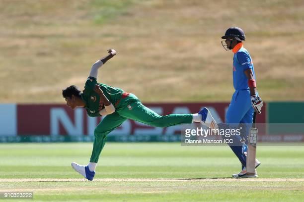 Hasan Mahmud of Bangladesh bowlsduring the ICC U19 Cricket World Cup match between India and Bangladesh at John Davies Oval on January 26 2018 in...