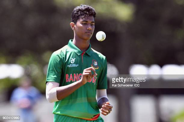 Hasan Mahmud of Bangladesh looks on during the ICC U19 Cricket World Cup Warm Up Match between Pakistan and Namibia at Hagley Park on January 8 2018...