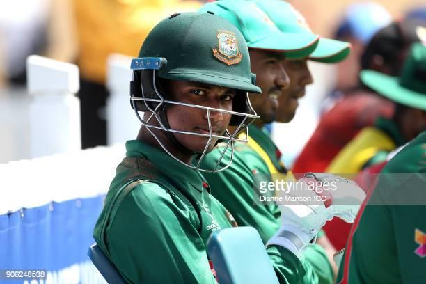 Hasan Mahmud of Bangladesh looks on during the ICC U19 Cricket World Cup match between Bangladesh and England at John Davies on January 18 2018 in...