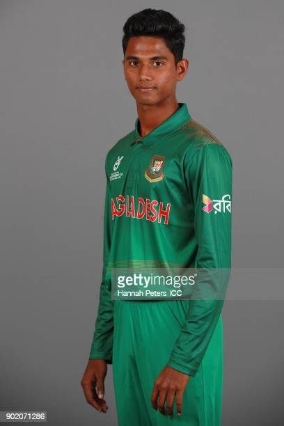 Hasan Mahmud poses during the Bangladesh ICC U19 Cricket World Cup Headshots Session at Rydges Christchurch on January 7 2018 in Christchurch New...