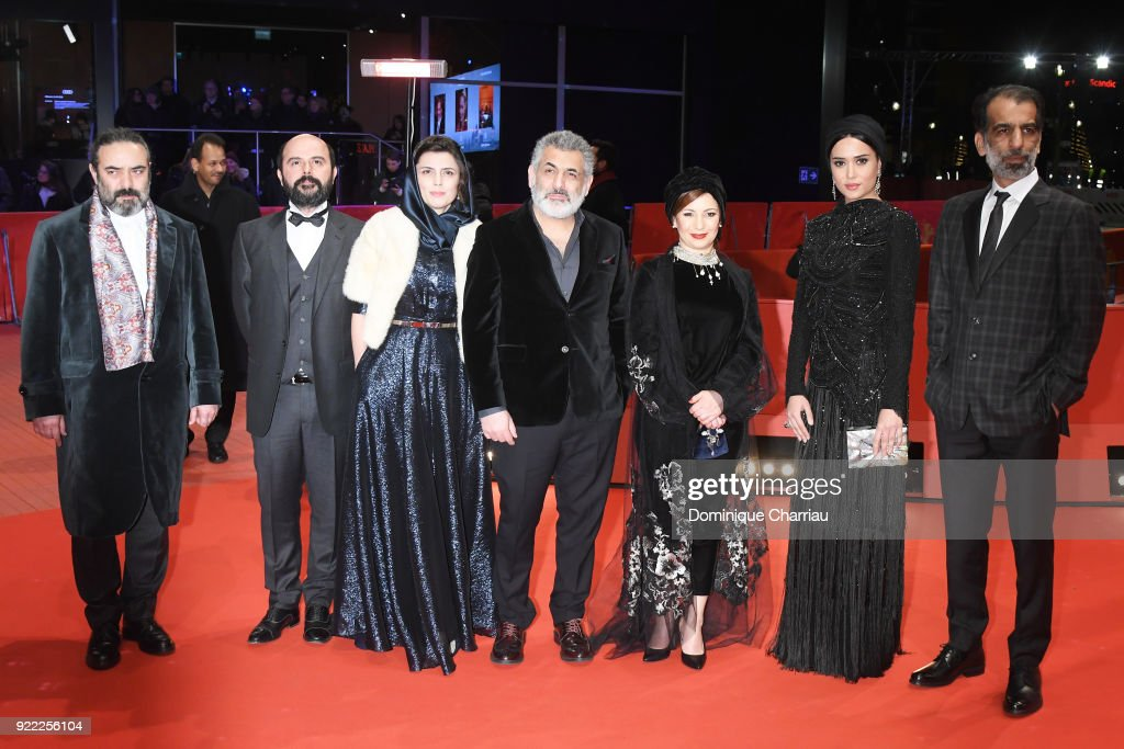 Hasan Majuni, Ali Mosaffa, Leila Hatami, Mani Haghighi, Leili Rashidi, Parinaz Izadyar and Ali Bagheri attend the 'Pig' (Khook) premiere during the 68th Berlinale International Film Festival Berlin at Berlinale Palast on February 21, 2018 in Berlin, Germany.