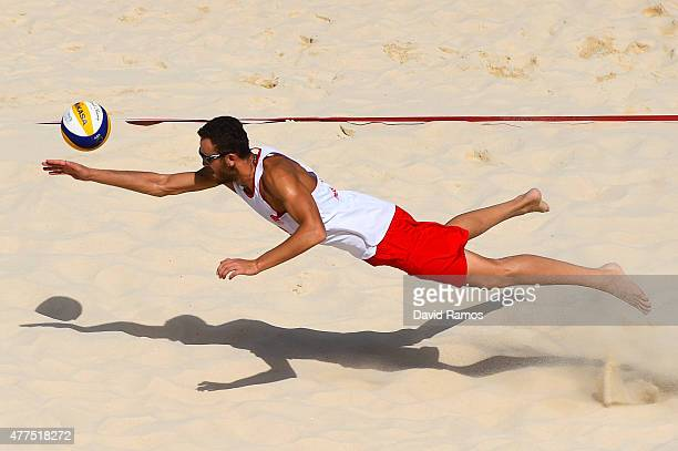 Hasan Mermer of Turkey competes in the Men's Beach Volleyball Preliminary match against Czech Republic during day six of the Baku 2015 European Games...