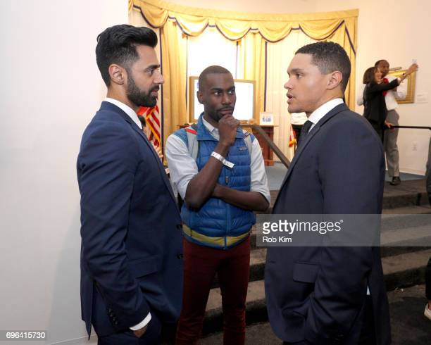 Hasan Minaj Deeray McKesson and Trevor Noah attend the The Donald J Trump Presidential Twitter Library Opening Reception presented by Comedy...